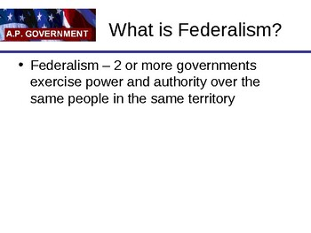 Federalism slideshow U.S. Government and Politics Civics