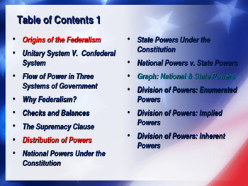 Establishing the US Government - Federalism - Unit Power Point