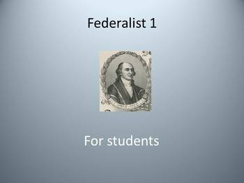 Federalist 1 for students