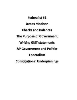 Federalist 51 GIST