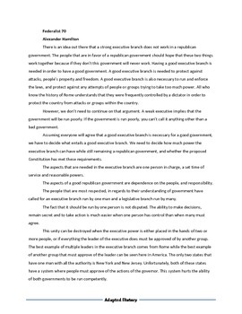 Federalist 70 for students