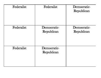 Federalist/Democratic-Republican Matching/Memory Game