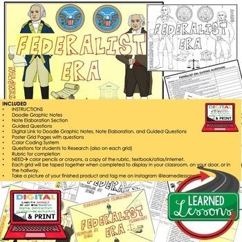 Federalist Era Collaborative Poster, Doodle Graphic Notes, Print & GOOGLE
