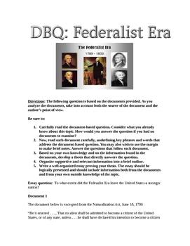 Federalist Era DBQ