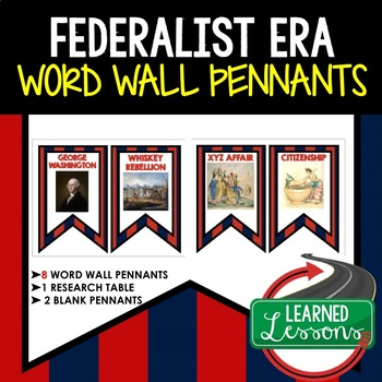Federalist Era Word Wall Pennants, American History Word Wall