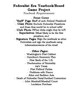 Federalist Era Yearbook/Game Board Project