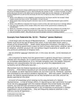 Federalist Papers 52-64 - Federalist-Antifederalist Debate Primary Source DBQs