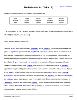 Federalist 70 (Full-Text Cloze)