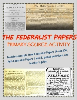 Federalist Papers primary source analysis activity