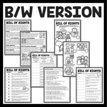 Bill of Rights Reading Comprehension; American Revolution
