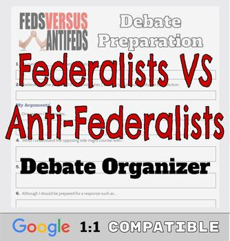 Federalist VS Anti-Federalist Debate Organizer | Google Ready Resource