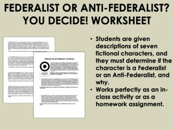 Federalist or Anti-Federalist - You Decide! - US History/APUSH