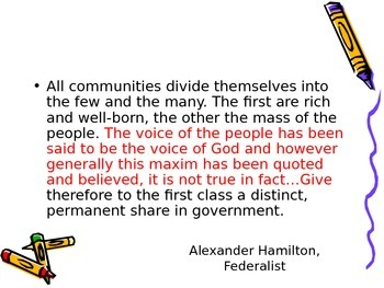 Federalist or Democratic Republican Quote Review Powerpoint