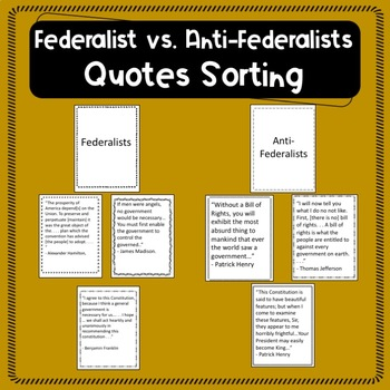 Federalist vs. Anti-Federalist Quote Sorting Activity