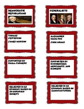 Federalist vs. Democratic Republicans Card Sort