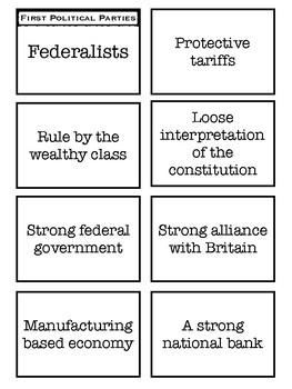 Federalist vs Democratic-Republicans card sort
