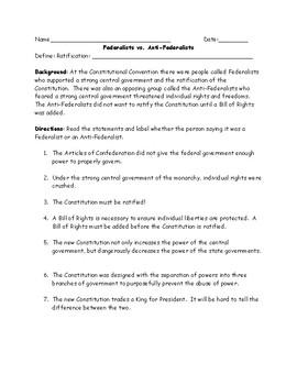 federalists vs anti federalists identification worksheet and federalists vs anti federalists identification worksheet and answer key