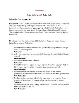 Federalists vs. Anti-Federalists Identification Worksheet and Answer Key