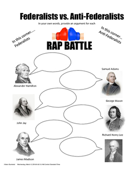 federalists vs anti federalists teaching resources teachers pay  anti federalists rap battle federalists vs anti federalists rap battle