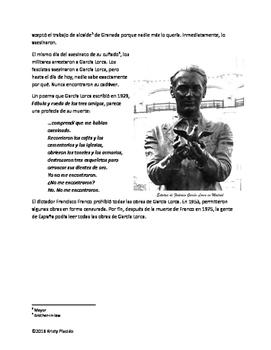 Federico Garcia Lorca Biography packet
