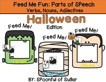 Feed Me Fun: Halloween Nouns, Verbs and Adjectives Sort