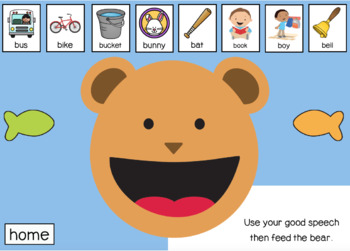 Feed The Bear P & B Sound Boom Cards | Articulation | Speech Therapy