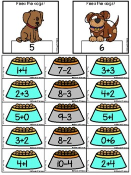 Feed The Dog! addition and subtraction facts