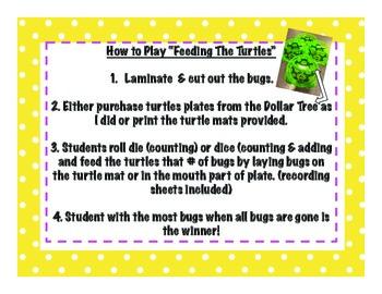 Feeding The Turtles Math Centers: Dollar Tree Inspired