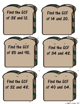 Feed Your Brain! 12 Cards to Practice Finding GCF for Math Centers