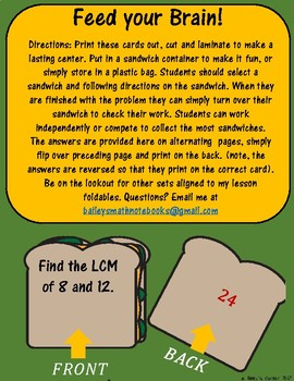 Feed Your Brain! 12 Cards to Practice Finding LCM for Math Centers