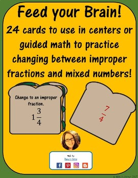 Feed Your Brain! 24 Cards  Converting Improper Fractions & Mixed Number