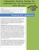 Feed by M.T. Anderson Independent Reading Package with Quizzes!