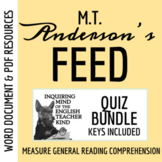 Feed by M.T. Anderson - Quiz Bundle (Set of 4 Comprehension Assessments)