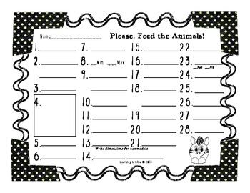 Feed the Animals Problem Solving Task Cards