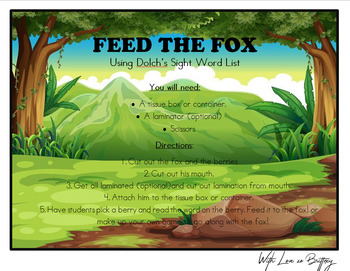 Feed the Fox Sight Word Game