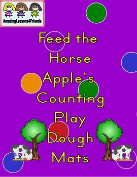 Feed the Horse Apple Counting Play Dough Mats