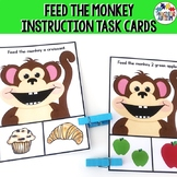 Following Instructions Task Cards, Feed the Monkey