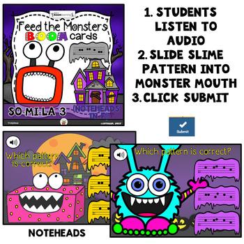 Feed the Monster Boom Cards - Solfege (So-Mi-La Bundle) - Digital Task Cards