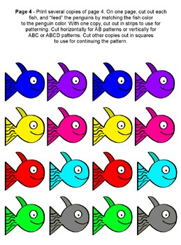 Feed the Penguins, Sight Word Colors Numbers Counting Patterns Activities
