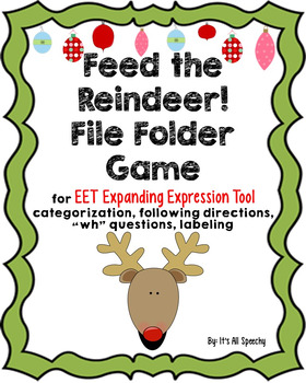 Feed the Reindeer Christmas File Folder EET, Categories, Directions, Questions