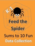 Feed the Spider--Sums to 10; Includes data collection sheets, progress reports