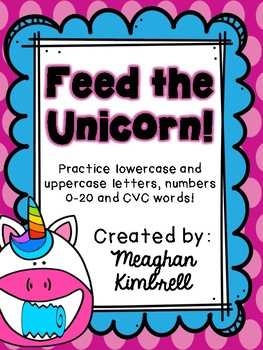 Feed the Unicorn (Uppercase/lowercase, numbers, cvc words)