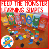 Shapes. Feed the monster. Fun game to learn shapes