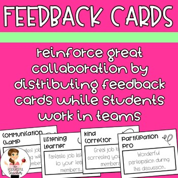 Feedback Cards | Behavior Management | Collaboration FREEBIE