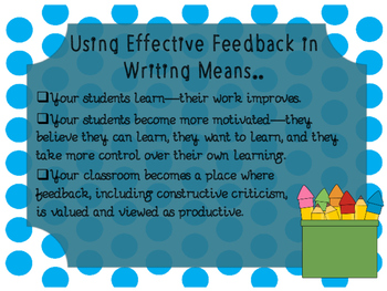 Feedback Forms for Primary Writing