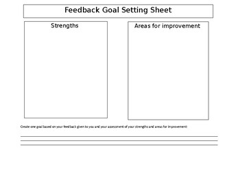 Feedback Goal Setting Sheet