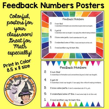 Feedback Numbers for Students to Express their Level of Learning 2 Posters