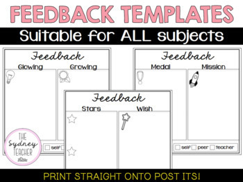 Feedback 'Post It' Pack (for sticky notes)