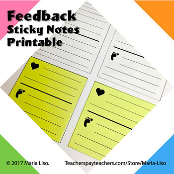 feedback sticky notes template conference notes post it printable