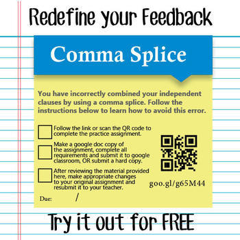 Feedback Stickynote - Comma Splice - Free Sample